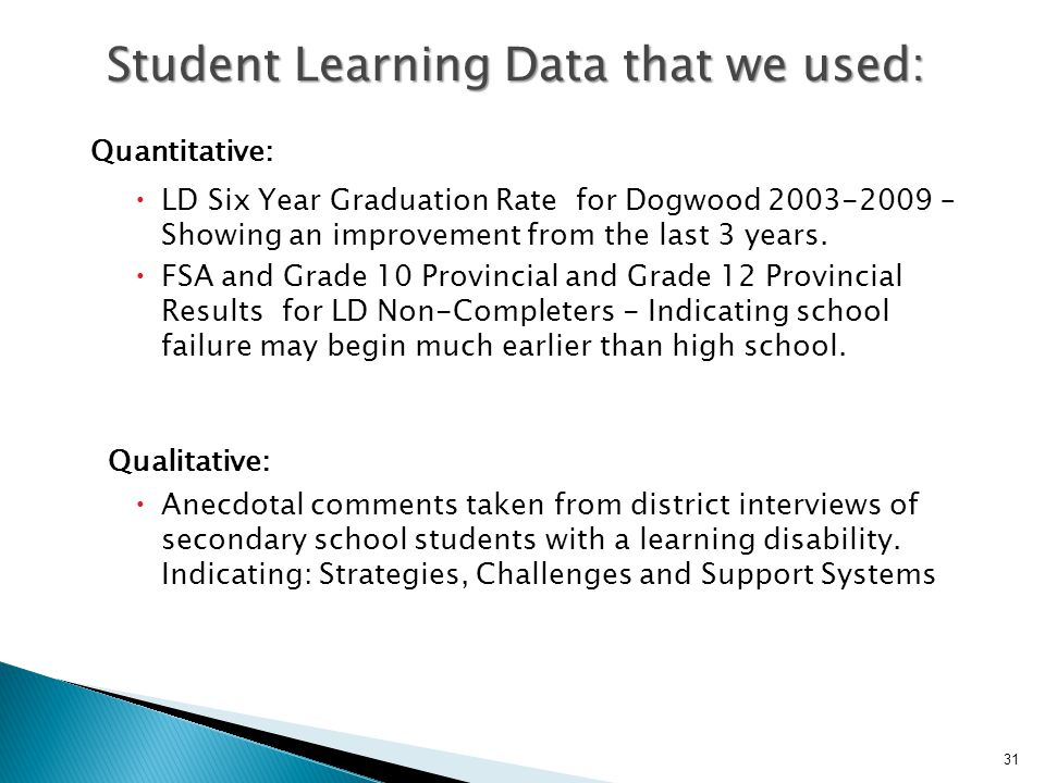 Quantitative:  LD Six Year Graduation Rate for Dogwood 2003-2009 – Showing an improvement from the last 3 years.  FSA and Grade 10 Provincial and Gr