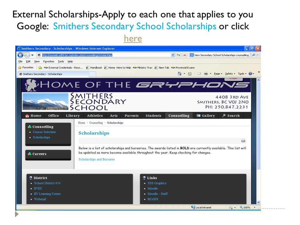 External Scholarships-Apply to each one that applies to you Google: Smithers Secondary School Scholarships or click here here