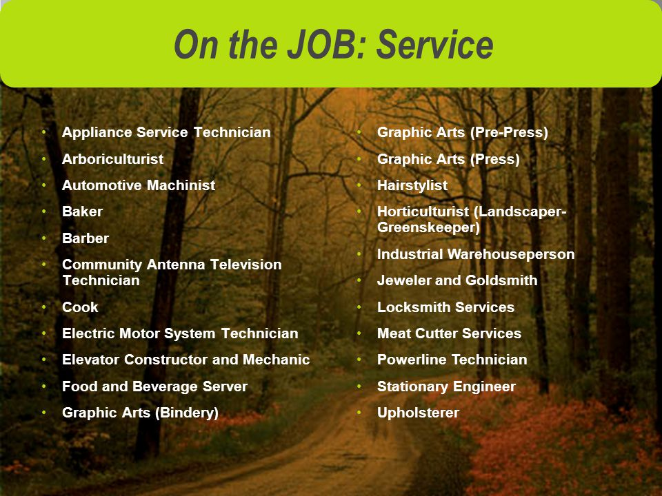 On the JOB: Service Appliance Service Technician Arboriculturist Automotive Machinist Baker Barber Community Antenna Television Technician Cook Electric Motor System Technician Elevator Constructor and Mechanic Food and Beverage Server Graphic Arts (Bindery) Graphic Arts (Pre-Press) Graphic Arts (Press) Hairstylist Horticulturist (Landscaper- Greenskeeper) Industrial Warehouseperson Jeweler and Goldsmith Locksmith Services Meat Cutter Services Powerline Technician Stationary Engineer Upholsterer
