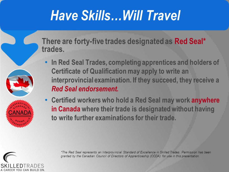 Have Skills…Will Travel There are forty-five trades designated as Red Seal* trades.