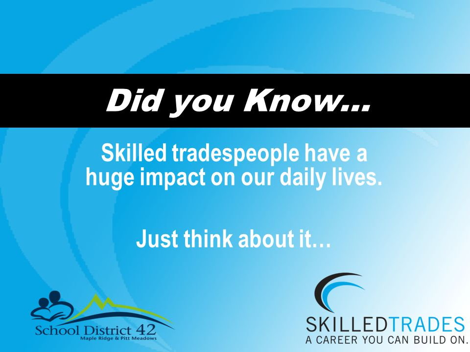 Did you Know… Skilled tradespeople have a huge impact on our daily lives. Just think about it…