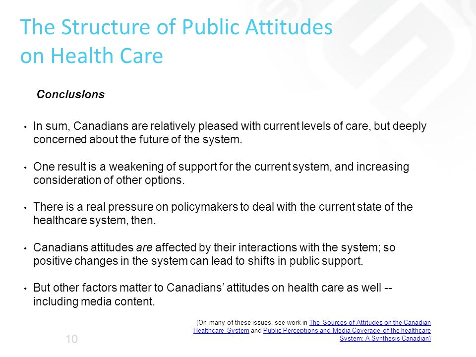 The Structure of Public Attitudes on Health Care In sum, Canadians are relatively pleased with current levels of care, but deeply concerned about the future of the system.
