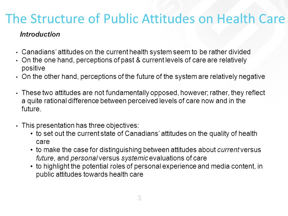 The Structure of Public Attitudes on Health Care Canadians' attitudes on the current health system seem to be rather divided On the one hand, perceptions of past & current levels of care are relatively positive On the other hand, perceptions of the future of the system are relatively negative These two attitudes are not fundamentally opposed, however; rather, they reflect a quite rational difference between perceived levels of care now and in the future.