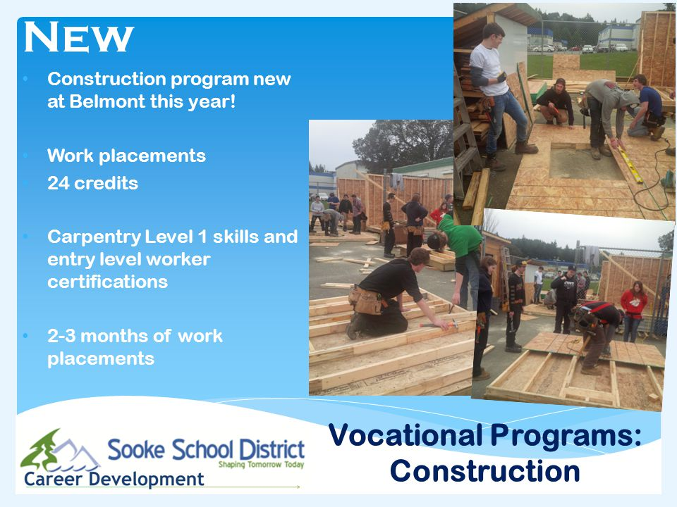 Vocational Programs: Construction New Construction program new at Belmont this year.