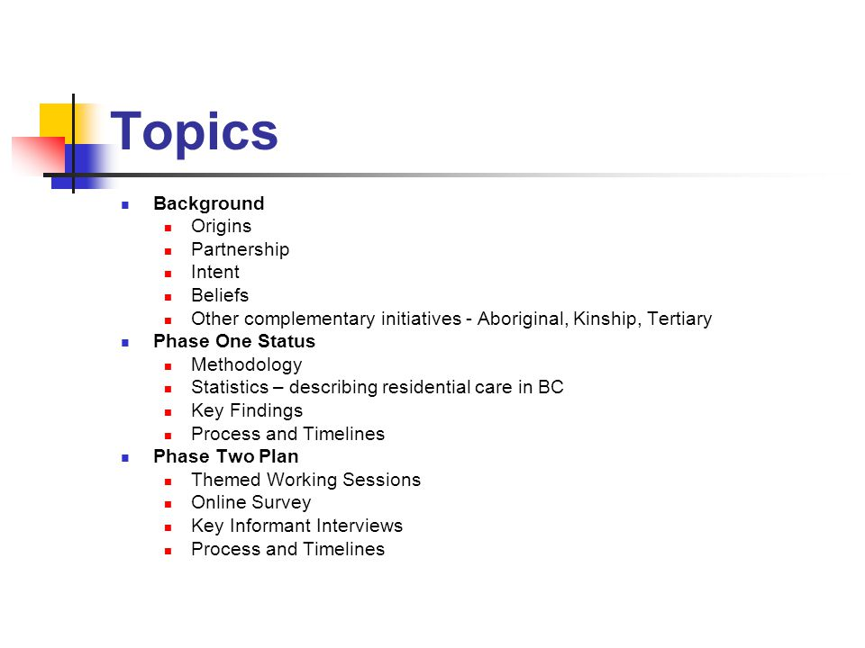 Topics Background Origins Partnership Intent Beliefs Other complementary initiatives - Aboriginal, Kinship, Tertiary Phase One Status Methodology Statistics – describing residential care in BC Key Findings Process and Timelines Phase Two Plan Themed Working Sessions Online Survey Key Informant Interviews Process and Timelines