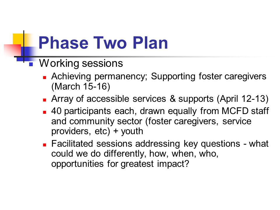 Phase Two Plan Working sessions Achieving permanency; Supporting foster caregivers (March 15-16) Array of accessible services & supports (April 12-13) 40 participants each, drawn equally from MCFD staff and community sector (foster caregivers, service providers, etc) + youth Facilitated sessions addressing key questions - what could we do differently, how, when, who, opportunities for greatest impact?