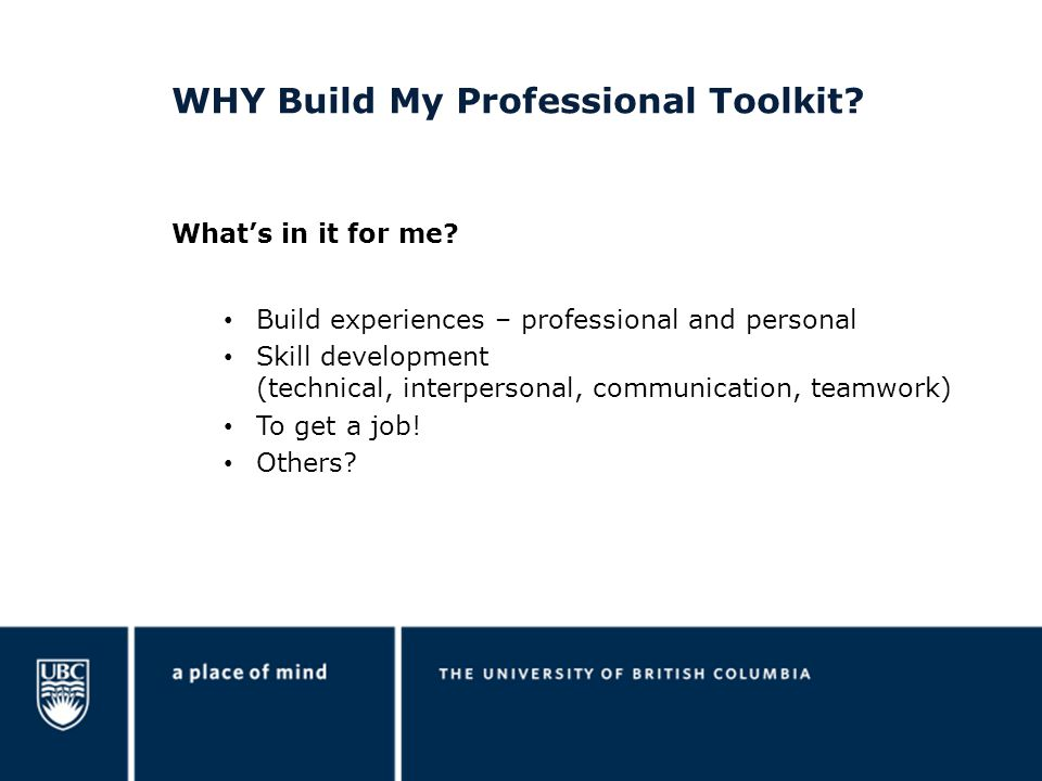WHY Build My Professional Toolkit.