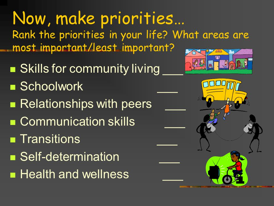 Now, make priorities… Rank the priorities in your life.