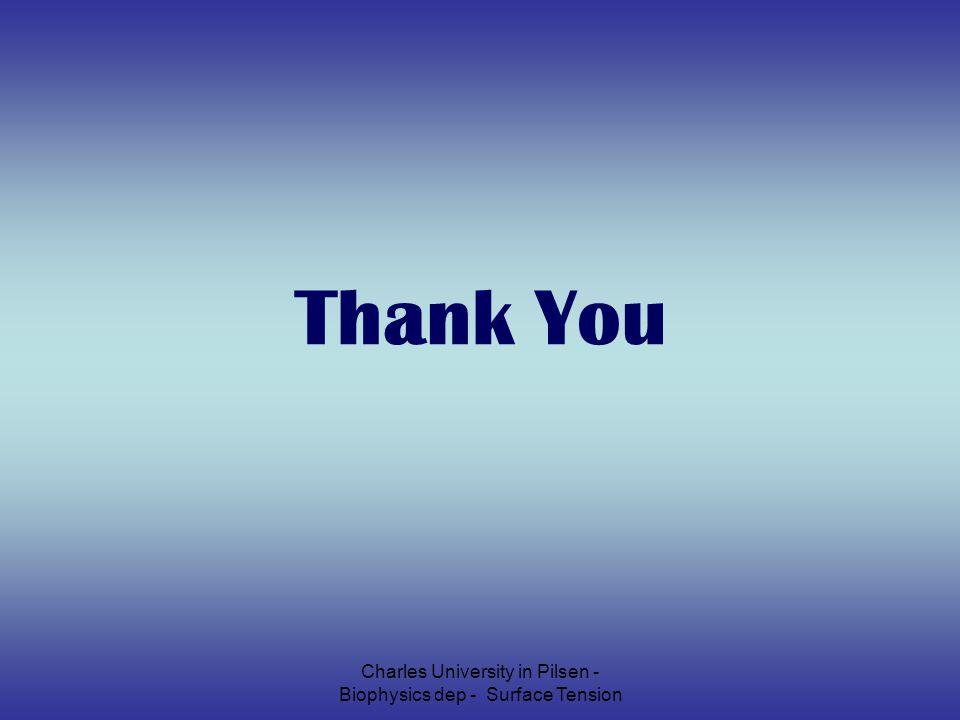 Charles University in Pilsen - Biophysics dep - Surface Tension Thank You