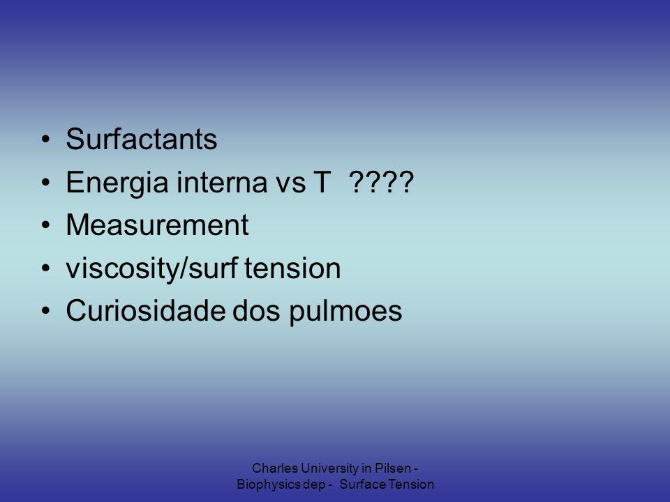 Charles University in Pilsen - Biophysics dep - Surface Tension Surfactants Energia interna vs T ???.