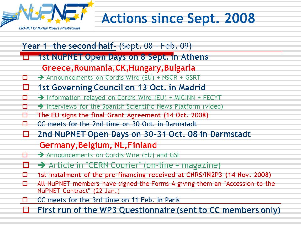 Year 1 –the second half- (Sept. 08 – Feb. 09)  1st NuPNET Open Days on 8 Sept.