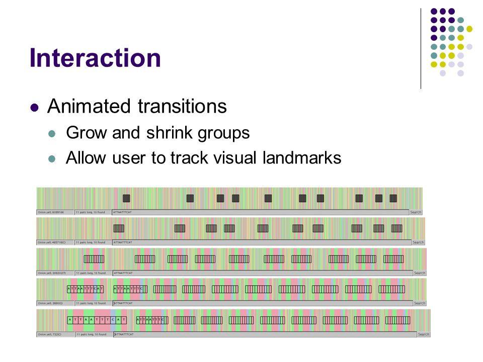 Interaction Animated transitions Grow and shrink groups Allow user to track visual landmarks