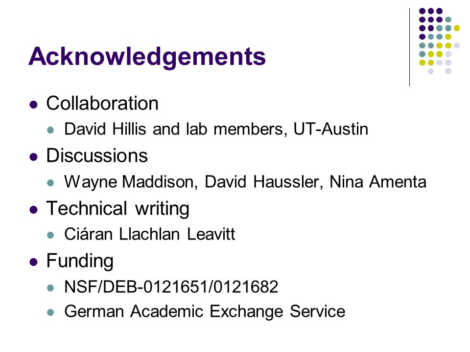 Acknowledgements Collaboration David Hillis and lab members, UT-Austin Discussions Wayne Maddison, David Haussler, Nina Amenta Technical writing Ciáran Llachlan Leavitt Funding NSF/DEB-0121651/0121682 German Academic Exchange Service