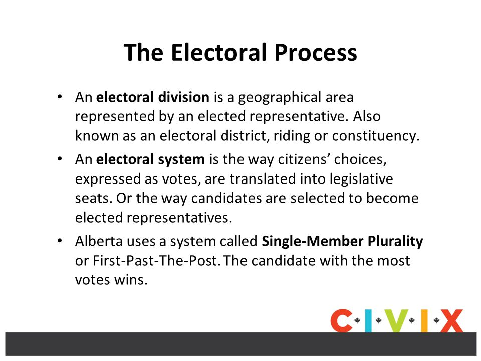 The Electoral Process An electoral division is a geographical area represented by an elected representative.