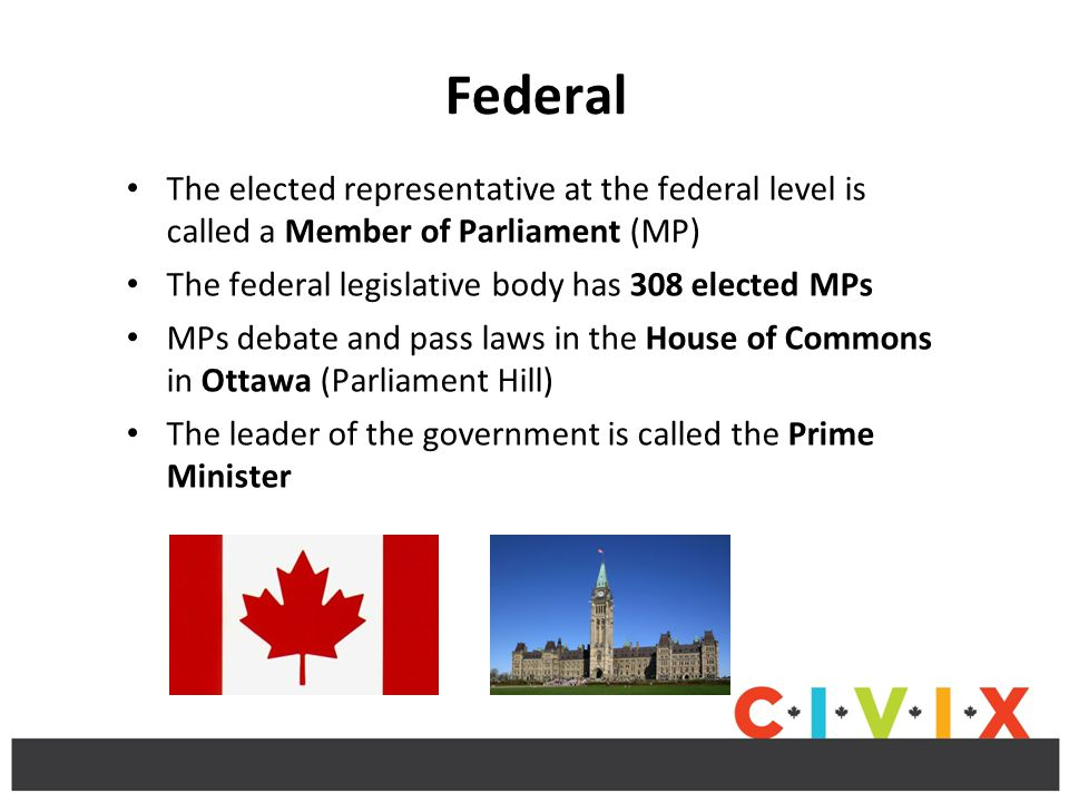 Federal The elected representative at the federal level is called a Member of Parliament (MP) The federal legislative body has 308 elected MPs MPs debate and pass laws in the House of Commons in Ottawa (Parliament Hill) The leader of the government is called the Prime Minister