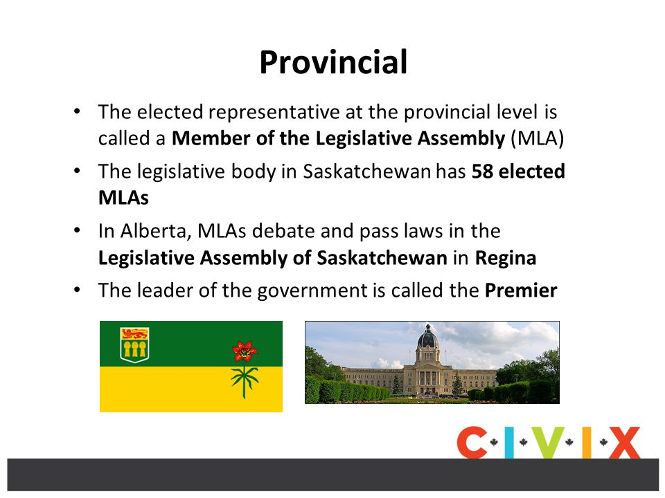 Provincial The elected representative at the provincial level is called a Member of the Legislative Assembly (MLA) The legislative body in Saskatchewan has 58 elected MLAs In Alberta, MLAs debate and pass laws in the Legislative Assembly of Saskatchewan in Regina The leader of the government is called the Premier