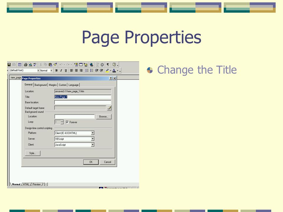 Page Properties Change the Title
