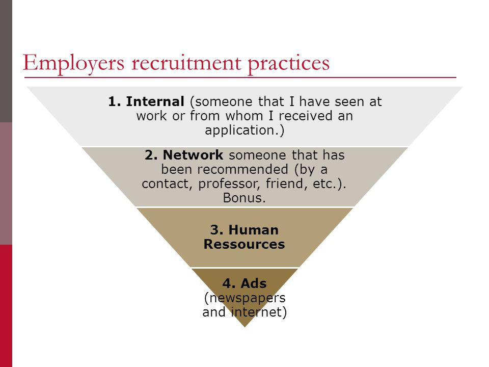 Employers recruitment practices 1. Internal (someone that I have seen at work or from whom I received an application.) 2. Network someone that has bee