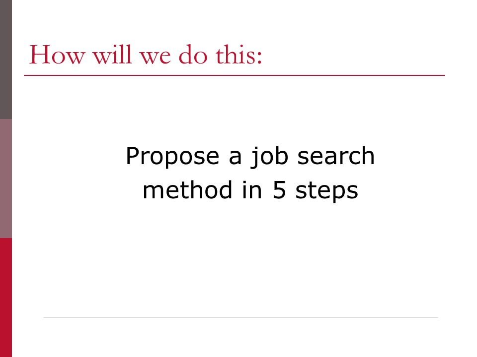 How will we do this: Propose a job search method in 5 steps