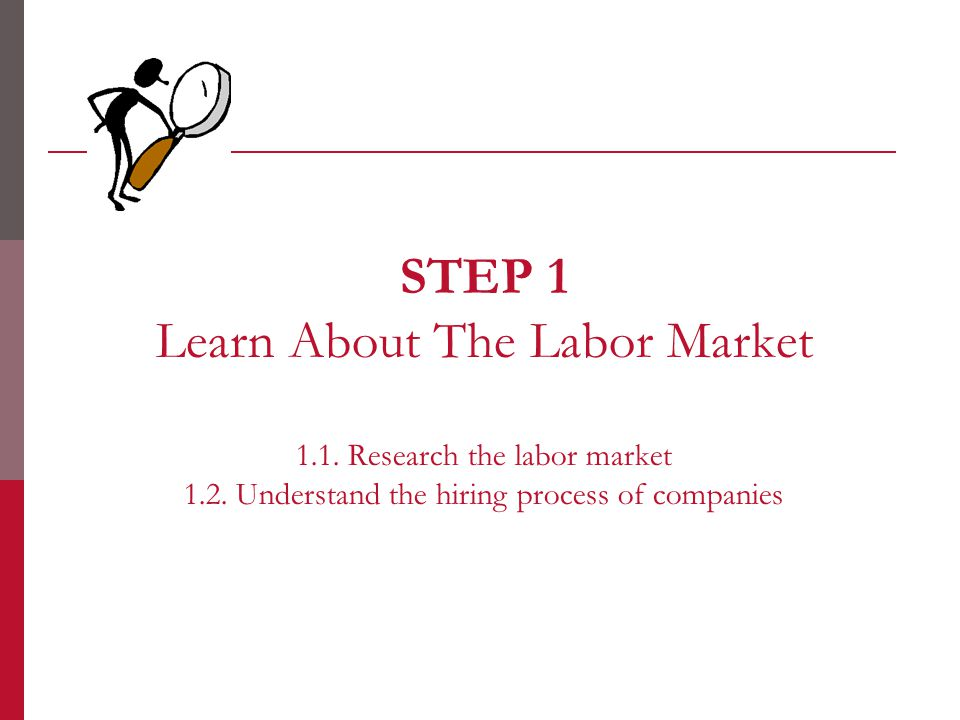 STEP 1 Learn About The Labor Market 1.1. Research the labor market 1.2.