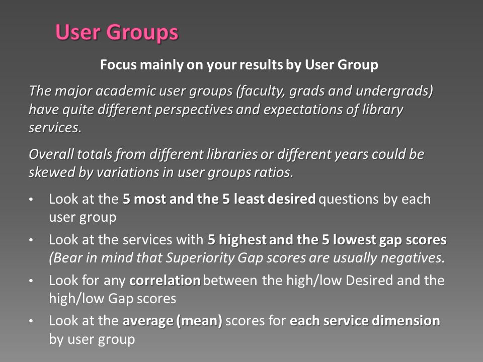 Focus mainly on your results by User Group The major academic user groups (faculty, grads and undergrads) have quite different perspectives and expect