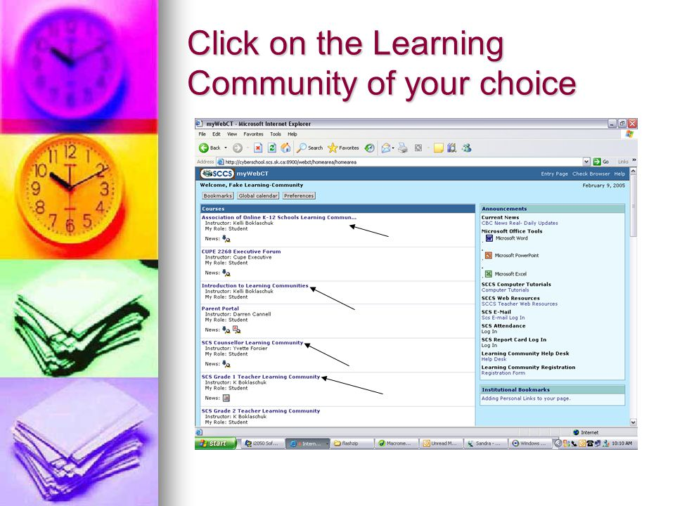 Click on the Learning Community of your choice