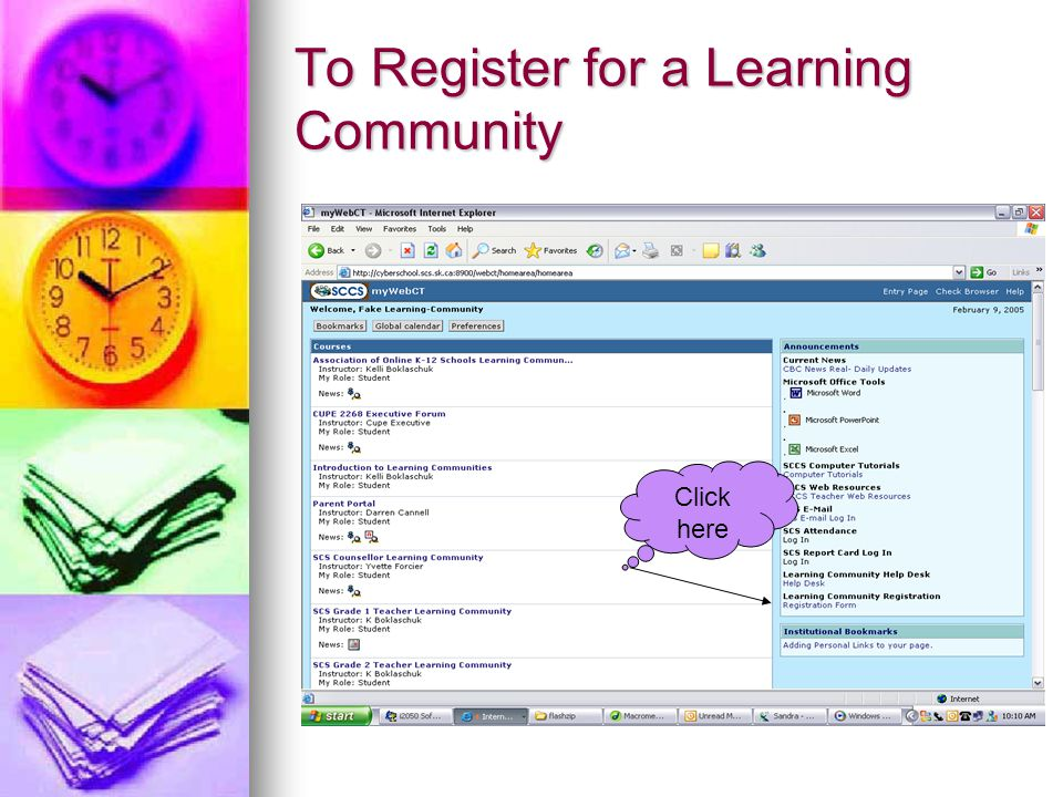 To Register for a Learning Community Click here
