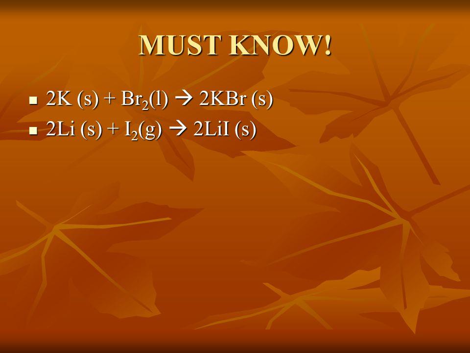 MUST KNOW! 2K (s) + Br 2 (l)  2KBr (s) 2K (s) + Br 2 (l)  2KBr (s) 2Li (s) + I 2 (g)  2LiI (s) 2Li (s) + I 2 (g)  2LiI (s)