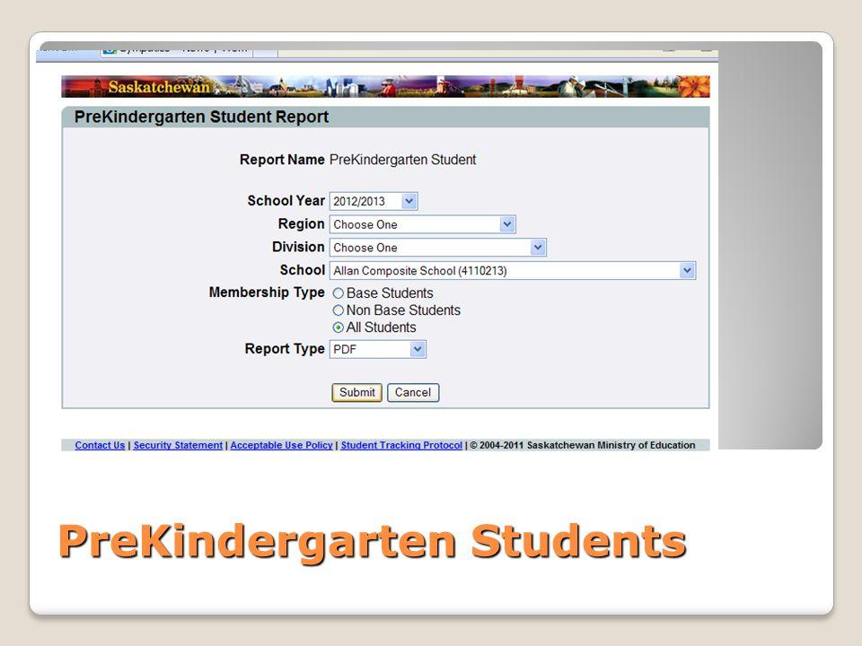 PreKindergarten Students
