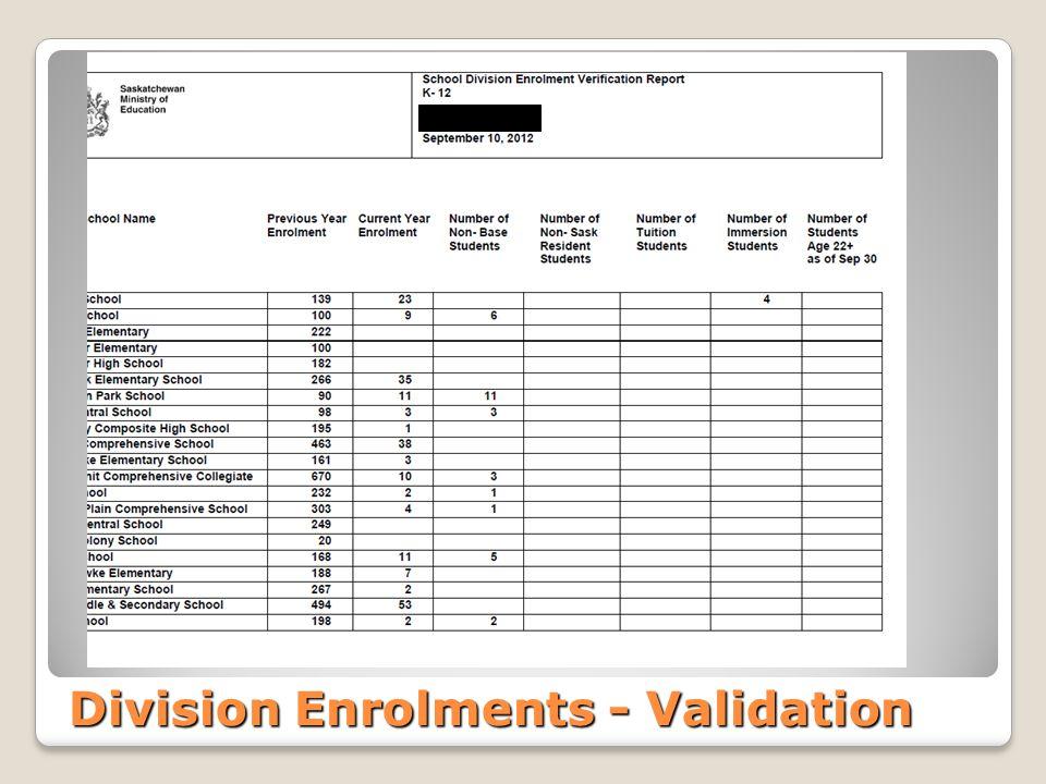 Division Enrolments - Validation