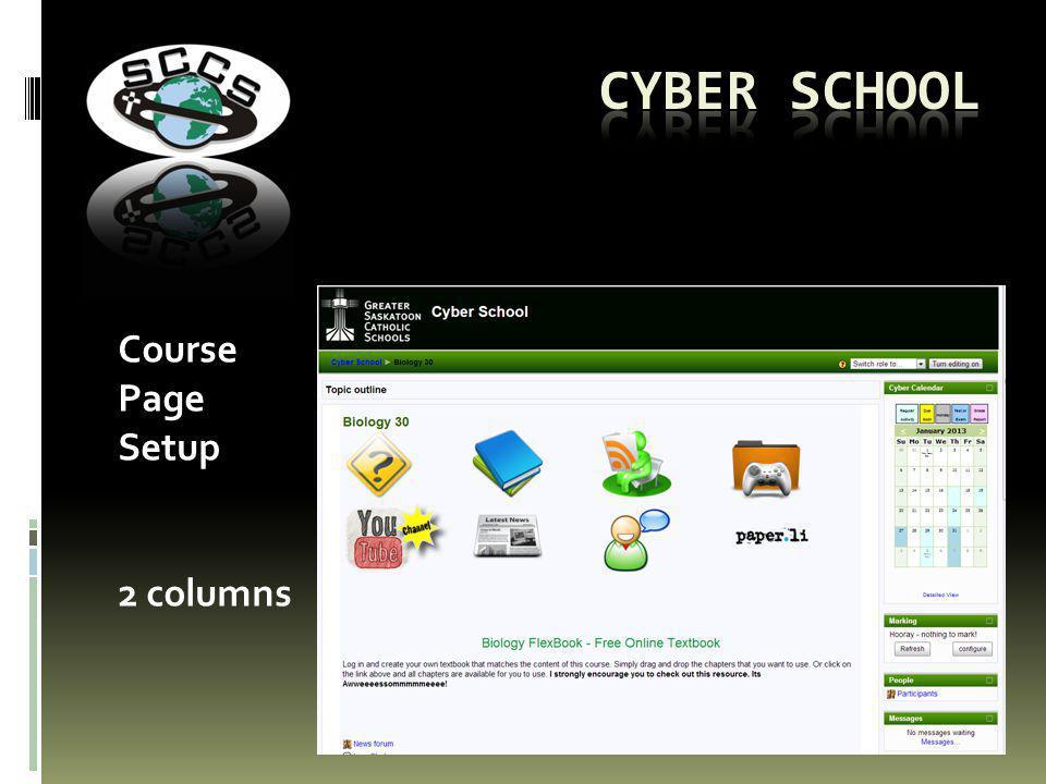Course Page Setup 2 columns