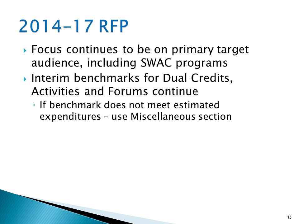  Focus continues to be on primary target audience, including SWAC programs  Interim benchmarks for Dual Credits, Activities and Forums continue ◦ If benchmark does not meet estimated expenditures – use Miscellaneous section 15