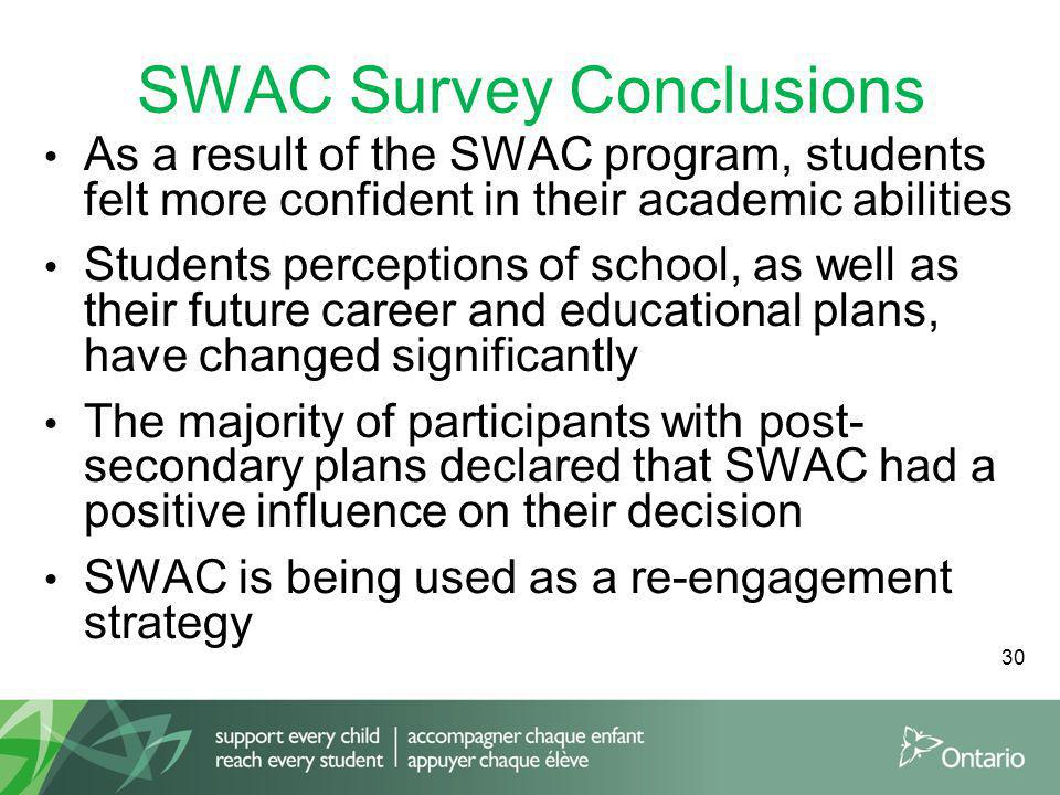 SWAC Survey Conclusions As a result of the SWAC program, students felt more confident in their academic abilities Students perceptions of school, as well as their future career and educational plans, have changed significantly The majority of participants with post- secondary plans declared that SWAC had a positive influence on their decision SWAC is being used as a re-engagement strategy 30