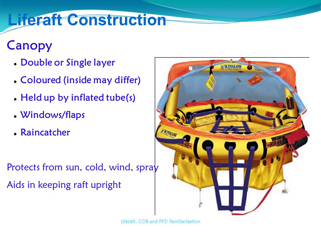 Liferaft, COB and PFD Familiarization Liferaft Construction Canopy Double or Single layer Coloured (inside may differ) Held up by inflated tube(s) Win