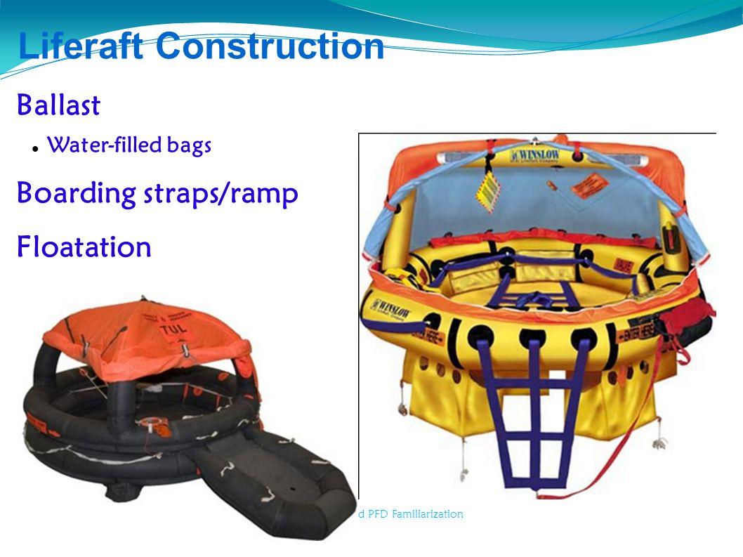 Liferaft, COB and PFD Familiarization Liferaft Construction Ballast Water-filled bags Boarding straps/ramp Floatation