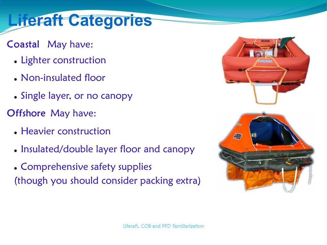 Liferaft, COB and PFD Familiarization Liferaft Categories Coastal May have: Lighter construction Non-insulated floor Single layer, or no canopy Offsho