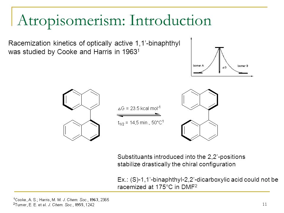 11 Atropisomerism: Introduction Racemization kinetics of optically active 1,1'-binaphthyl was studied by Cooke and Harris in 1963 1 Substituants introduced into the 2,2'-positions stabilize drastically the chiral configuration Ex.: (S)-1,1'-binaphthyl-2,2'-dicarboxylic acid could not be racemized at 175°C in DMF 2