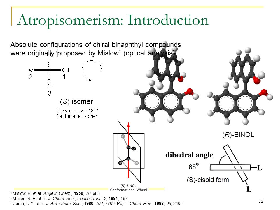 12 Atropisomerism: Introduction (R)-BINOL Absolute configurations of chiral binaphthyl compounds were originally proposed by Mislow 1 (optical analysis) 1 Mislow, K.