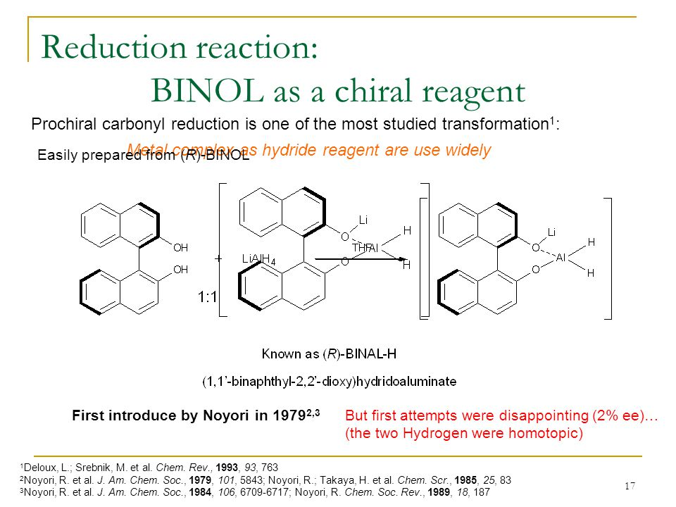 17 Reduction reaction: BINOL as a chiral reagent Prochiral carbonyl reduction is one of the most studied transformation 1 : 1 Deloux, L.; Srebnik, M.