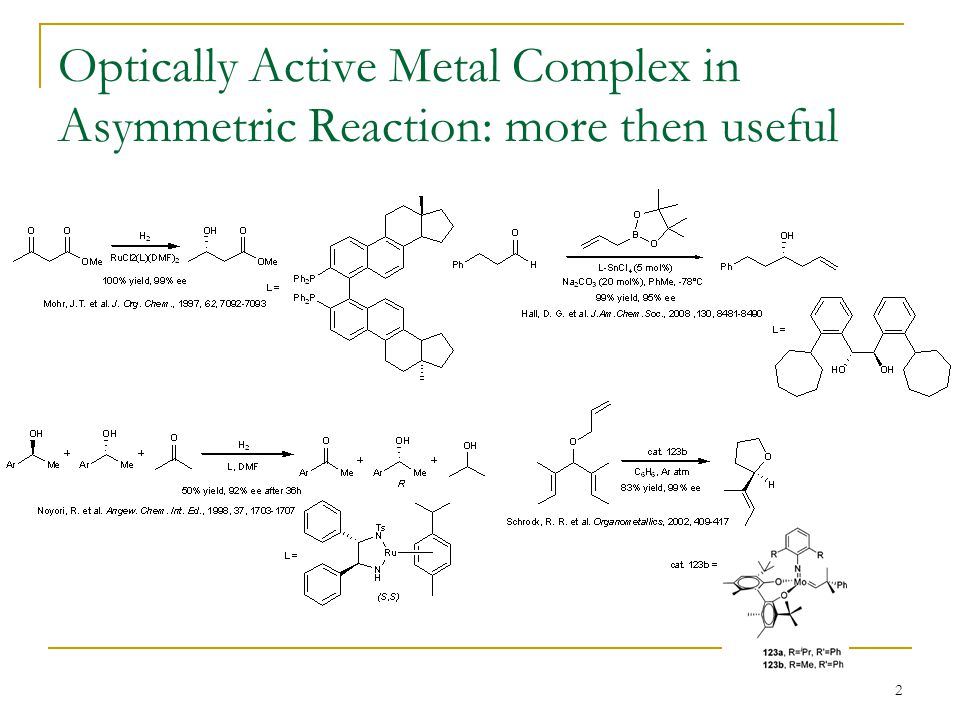 2 Optically Active Metal Complex in Asymmetric Reaction: more then useful