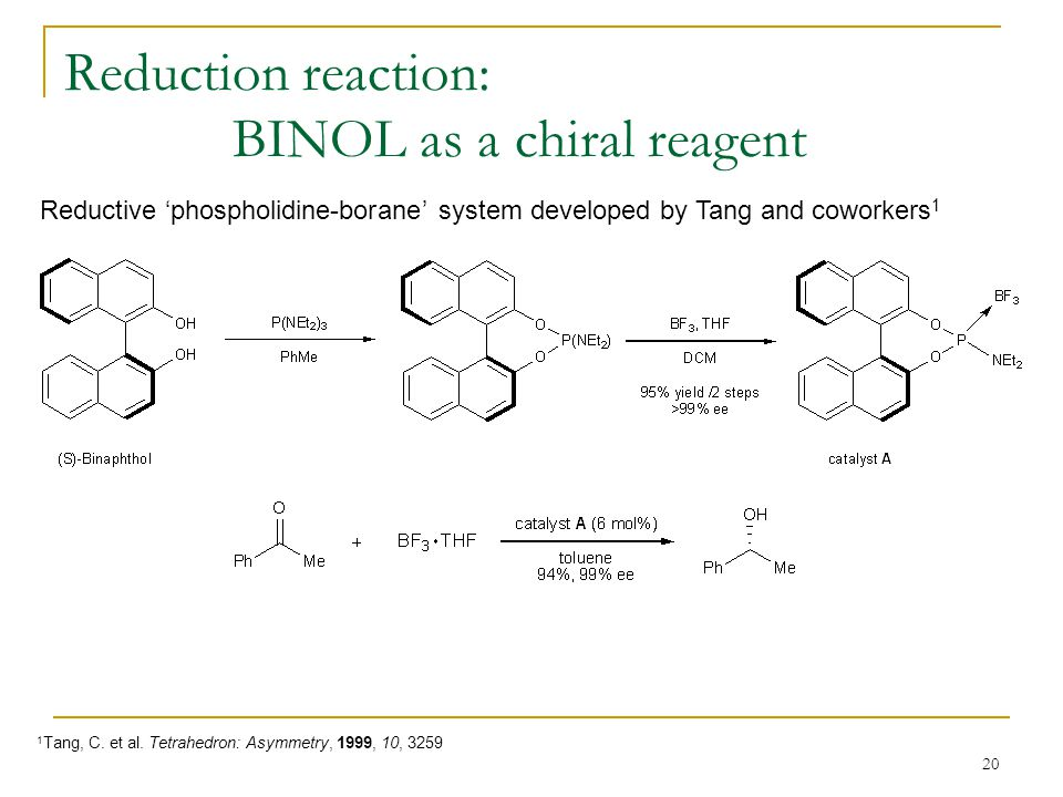 20 Reduction reaction: BINOL as a chiral reagent Reductive 'phospholidine-borane' system developed by Tang and coworkers 1 1 Tang, C.