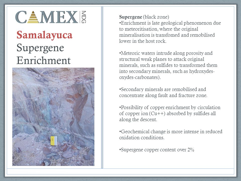 Samalayuca Supergene Enrichment Supergene (black zone) Enrichment is late geological phenomenon due to meteoritisation, where the original mineralisation is transfomed and remobilised lower in the host rock.