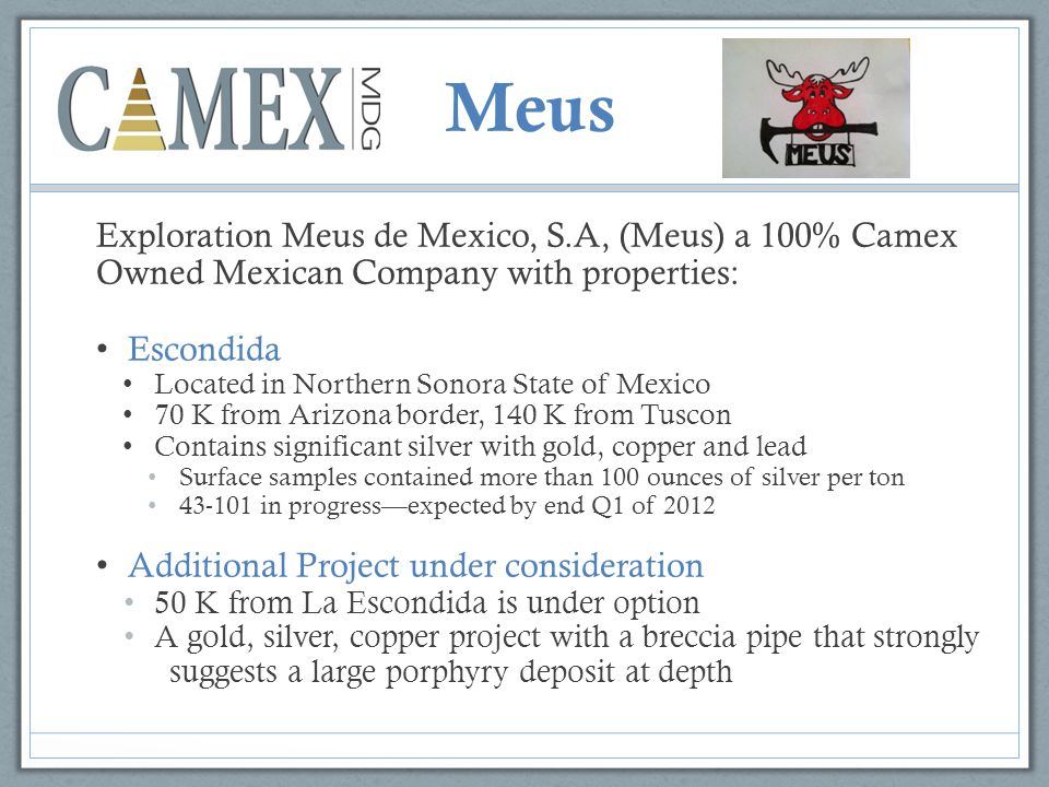 Meus Exploration Meus de Mexico, S.A, (Meus) a 100% Camex Owned Mexican Company with properties: Escondida Located in Northern Sonora State of Mexico 70 K from Arizona border, 140 K from Tuscon Contains significant silver with gold, copper and lead Surface samples contained more than 100 ounces of silver per ton in progress—expected by end Q1 of 2012 Additional Project under consideration 50 K from La Escondida is under option A gold, silver, copper project with a breccia pipe that strongly suggests a large porphyry deposit at depth