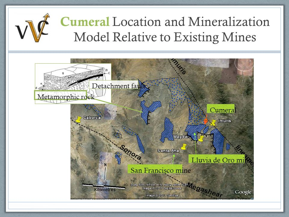 Detachment fault Metamorphic rock Cumeral San Francisco mine Lluvia de Oro mine Cumeral Location and Mineralization Model Relative to Existing Mines