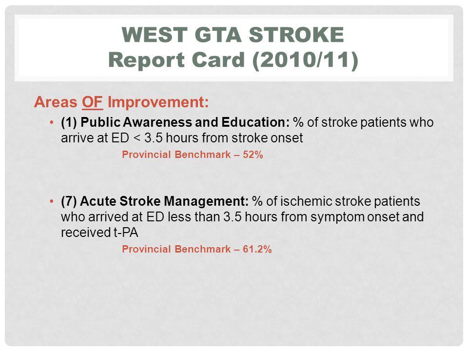 Mississauga/Halton LHIN Stroke Report Card (2010/11) Areas FOR Improvement: ( 4) Prevention: % of ischemic stroke/TIA patients with Atrial Fibrillation prescribed or recommended anticoagulant therapy upon Discharge from hospital PB = 86% (8) Acute Stroke: % of stroke/TIA patients treated on a stroke unit at any time during their inpatient stay PB = 87.5% (10) Acute Stroke: % of ALC days to total length of stay in acute care PB = 14% (11) Acute Stroke: % of acute stroke patients discharged from acute care and admitted to inpatient rehabilitation PB 42.3%