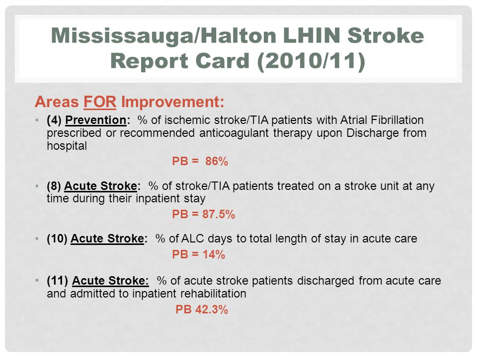 Mississauga/Halton LHIN Stroke Report Card (2010/11) Areas FOR Improvement: (13) Stroke Rehabilitation: % of stroke (excluding TIA) patients discharged from acute care who received a referral for outpatient rehabilitation PB = 12.1% (18) Stroke Rehabilitation: % of stroke patients admitted to inpatient rehabilitation with severe strokes (RPG 1100 or 1110 PB = 46.9%