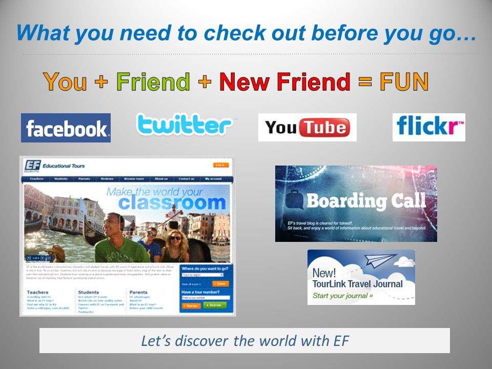 Let's discover the world with EF What you need to check out before you go…