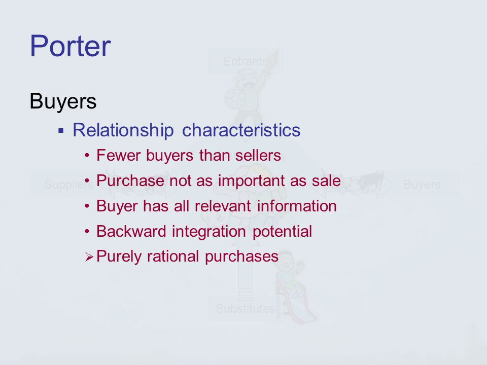 Industry Rivalry Entrants Buyers Substitutes Suppliers Porter Buyers  Relationship characteristics Fewer buyers than sellers Purchase not as important as sale Buyer has all relevant information Backward integration potential  Purely rational purchases
