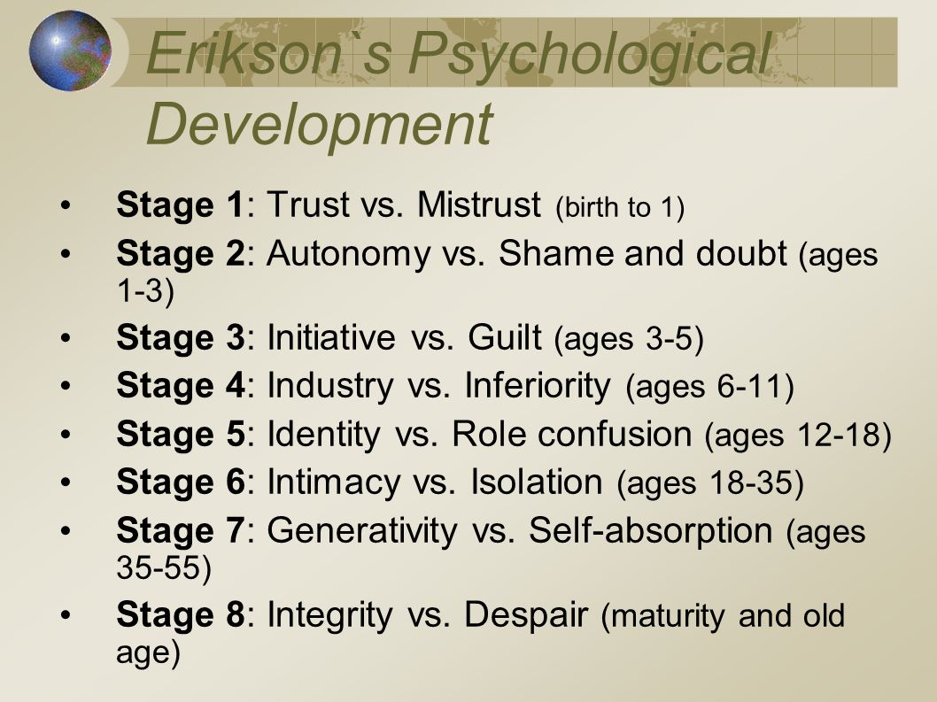 Erikson`s Psychological Development Stage 1: Trust vs. Mistrust (birth to 1) Stage 2: Autonomy vs. Shame and doubt (ages 1-3) Stage 3: Initiative vs.