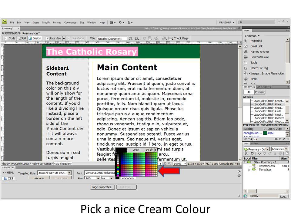 Pick a nice Cream Colour
